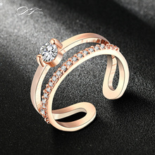 Rose Gold Color Fashion Resizable Wedding & Engagement Ring AAA Cubic Zirconia Jewelry For Women As Chirstmas Gift DFR481