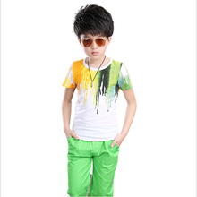 New arrived Fashion Casual Boy painting pattern Sport Suits Leisure clothes for Kids Child clothing sets for Baby Boy to teenage