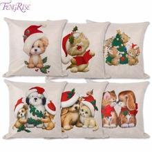 FENGRISE Animal Sery Cushion Cover Merry Christmas Decorations For Home Cute Dogs Cats Xmas Pillow Case Happy New Year Gift 2018(China)