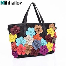 Female Genuine Leather Bag Colorful Flower Women Handbag Famous Brands Messenger Bags B40-235 - Sky Fashion Co.,Ltd store