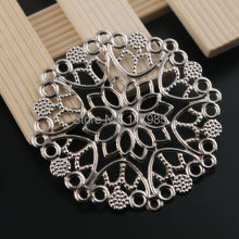 Buy Silver Tone Filigree Flower Wrap Connector 48mm 30Pcs Alloy Charms Base Setting Embellishment for $2.59 in AliExpress store