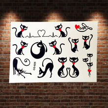 Black Cat Heart Design Cartoon Tattoo Stickers ACG-025 tatouage taty Cute Cat Love Pattern Flash Tattoo Paste Body Arm Women
