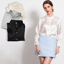 M-XL women high quality satin silk blouse button ladies silk satin blouses White Black Gold Red long sleeve satin blouse