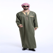 Buy Dubai Style Arab Muslim Men Long Sleeve O Nevk Robe Kaftan Islamic Saudi Thobe Thoub Abaya Robe Dishdasha Clothes for $26.66 in AliExpress store