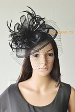NEW 12 colours BLACK Sinamay Fascinator with feathers&birdcage veil for wedding,Kentucky Derby.FREE SHIPPING.