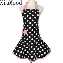 XiuMood Cute Kitchen Cooking Pink Aprons For Woman Sleeveless Bow Tie Pocket Apron