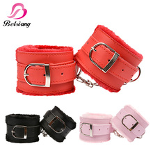 Adult Game Handcuffs PU Leather Restraints Bondage Cuffs Bdsm Fetish Slave Roleplay Tools Sex Toys For Couples 3 Colors(China)