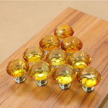 5PCS Yellow 30mm Crystal Glass Diamond Door Handles Kitchen Home Cabinet Cupboard Wardrobe Knobs Drawer Handles Hardware(China)