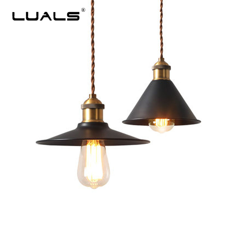 Nordic Vintage Pendant Light Iron Art Industrial Style Hanging Lamp Small Lampshade Suspension Luminaire Cafe Art Deco Lighting<br>