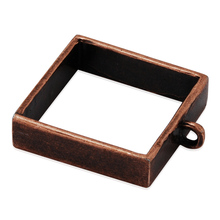Vintage alloy square blank pendant setting pressed flower open bezel pendant blanks jewelry wholesale(China)