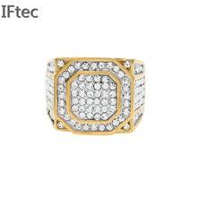 Luxury Cubic Zirconia Micro Pave Cz Bling Hip Hop Jewelry Gold Fill Mens Ring Iced Out Weding Party Rings For Men And Women