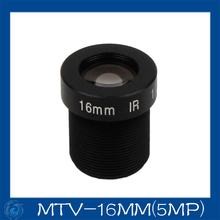"Free shipping 5MP cctv camera lens16mm Fixed  Iris lens, 1/2""  M12x0.5 Mount Fixed F2.0  for Security Camera, MTV-16MM(5MP)"