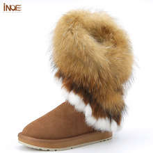 INOE cow suede leather fox fur winter snow boots for women winter shoes rabbit fur tassels shoes flats black brown grey 35-44(China)