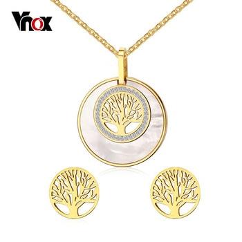 Vnox árbol de la vida collar y pendientes de la joyería para las mujeres de moda de acero inoxidable chapado en oro cz sistemas de la joyería de piedra
