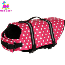 DOGBABY Pet Swimming Vest Polyester Summer Dog Life Jacket Print Dot Pattern Dogs Cats Life Vest Red Blue Colors Swimwear XS-XL