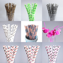 25pcs Special Paper Straws Happy Birthday Wedding Decorative Event Party Supplies Kawaii Environmental Flamingo Drinking Straws(China)