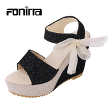 2017 Fashion Women Sandals Sweet Lace High Heel Shoes for Woman Platform Wedges Ladies Women Sandals 155