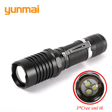 Strong Zoom Tactical Led Flashlight Adjustable 3*Cree XML T6 10000 Lumen Rechargeable Flash Torch Lamp Lampe by 18650 or 3*AAA