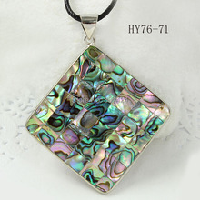 Free Shipping 1pcs 76-71 Fashion Jewelry Natural New Zealand Abalone Shell Pendant rhombus shape 55mm silver-plated
