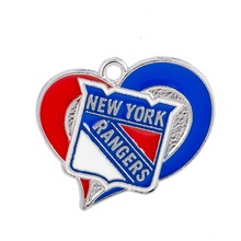 10PCS NHL NY Rangers Fashion Sport Jewelry Pendant Puck Enamel Heart Sport Team Metal Jewelry Pendant Charms(China)