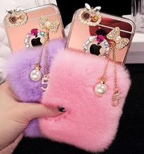 Newest Luxury Bling Bowknot tassel Warm Soft Beaver Rabbit Fur Hair phone cases for iphone5s 6/6P 7/7P protective phone back(China)