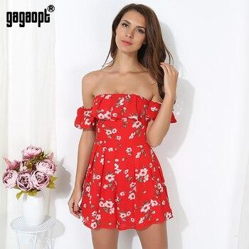 Gagaopt 2017 summer dress mulheres casual floral imprimir partido shoulder ruffle dress boho novo chiffon praia sexy vestidos de cintura alta