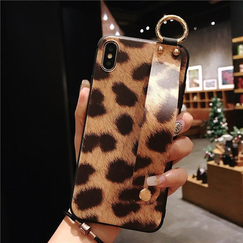 9 SoCouple Wrist Strap Phone Case For iphone X Xs max XR 6 6s 7 8 plus Leopard Print Tiger Skin Zebra Pattern Soft TPU Holder Case
