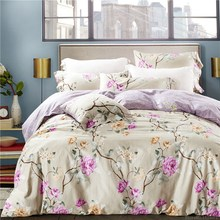 100% Cotton purple flower fashion European style bedding sets 4pcs American bed linens duvet cover sheet pillowcases king/queen(China)