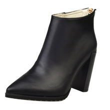 Leather Pointed Toe Woman Short Boot Fashion Spring Autumn High Heel Zipper Lady Boots Female Shoes Martin Boots