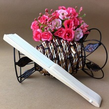White Lady's Silk Folding Hand Fan For Outdoor Bridesmaid Wedding Party(China)