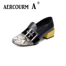 Aercourm A High Heels Woman Shoes Genuine Leather Trendy Blue Black Women Shoes Pumps Plus Size 36-40 Sexy Serpentine Shoes H919(China)