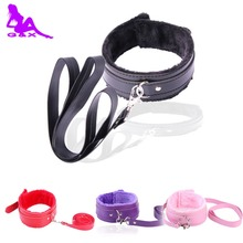 Buy New 4 color PU Leather Plush Neck Sex Collar Fetish Bondage Adult Games Slave Restraint Flirting erotic Sex Toys Couples