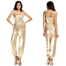 Buy Women Sexy Gold Faux Leather Bodysuit Latex Catsuit Wetlook PU Jumpsuit Sleeveless Spaghetti Strap Rompers Clubwear Plus Size XL