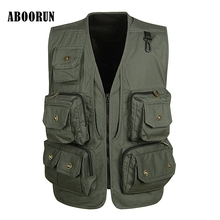 ABOORUN Mesh Vest Men's High Quality Causal Travel Vest Loose Multi-pockets Collarless Mens Working Photography Vest W2063(China)