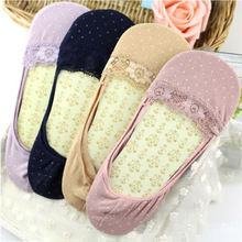 Women Girls Lace Soft Cotton Socks Female Socks Dot Invisible Slipper Footies Socks 010(China)