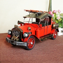 Precious Collections Metal Crafts Antique Firetruck Model Ornaments Car Model Creative Gift Decoration