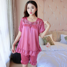 Summer Ice Silk Pajamas Two-piece Outfit Nightie Silk Natural Mulberry Underwear Womens Tops Casual Homewear B-5388