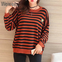 Weiweihu 2017 Women Sweater and Pullovers Casual Ladies Christmas Sweater Striped O-Neck Female Jumpers Loose Smile Face Tops