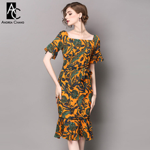 Buy spring summer runway designer womans dress yellow knee length trumpet mermaid dress green floral print square collar sexy dress for $57.01 in AliExpress store