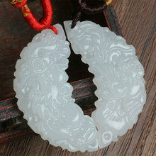 1pair 100% natural hand-carved Chinese Dragon phoenix white stone pendant Natural(China)
