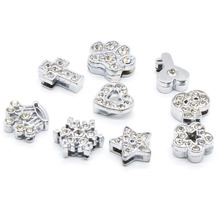 Cross Dog Paw Heart Star Snowflake Slide Charm  fits 8MM Bracelet Diy Phone Strip Jewelry Making CSLP004