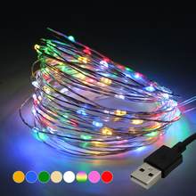 5M 50leds / 10M 100leds Silver Wire Garland USB LED String lights Holiday lighting For Fairy Christmas Wedding Party Decoration(China)