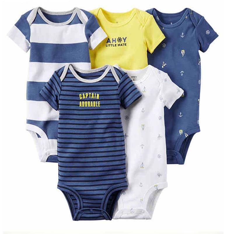 5pcs/lot new born baby bebes boy girl clothes set infant summer kids rompers for boys short sleeve o-neck baby set