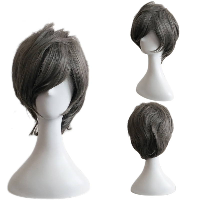 Fashion Man Wig Short Gray Men High Quality Synthetic Hair Wigs Heat resistant wig Cosplay Party Wigs Free hairnet<br><br>Aliexpress