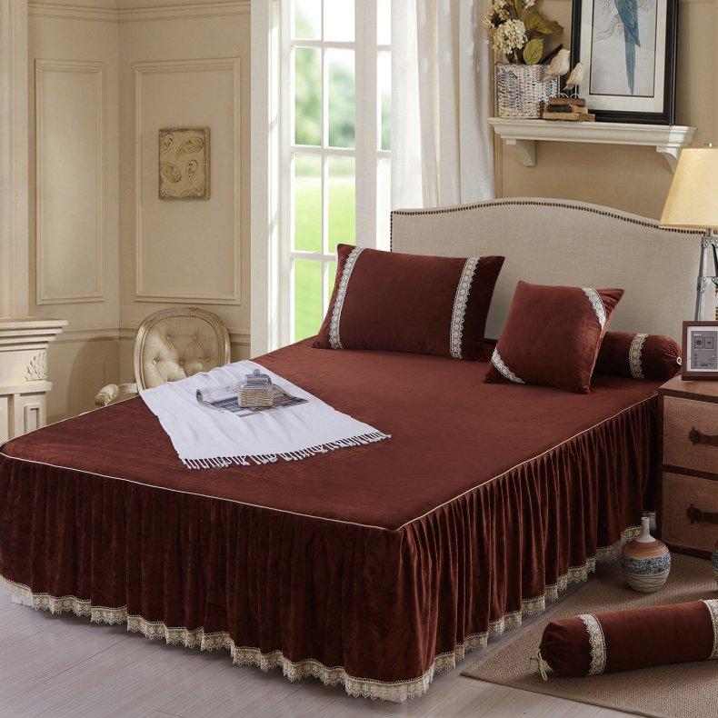 3Pcs Fleece Bed Skirt Set W/ Pillowcases, Mattress Protective Cover 36