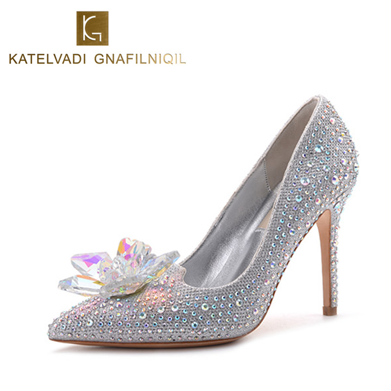 New Women Pumps Crystal Wedding Shoes Pointed Toe High Heels Cinderella Shoes Rhinestone Butterfly Heels Shoes Woman B-0025<br>