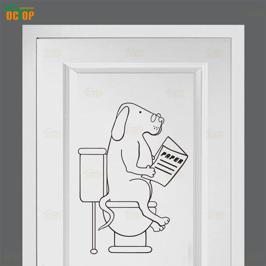 Cartoon Dogs Go To WC Wall Stickers Lovely Animal Vinyl Decals For Door Children Room Home Decor Bathroom PVC Wall Decals (4)