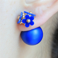 2016 design fashion brand jewelry Daisy Flowers stud earing double Imitation pearlsMatte beads gold earring for women