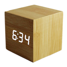 Wood Cube LED Alarm Control Digital Desk Clock Wooden Style Room Temperature Bamboo