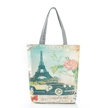 Canvas Printing Paris Eiffel Tower Shoping Bag Foldable Reusable Grocery Bags Zipper Handbags Fashion Designer Casual Tote Bags(China)